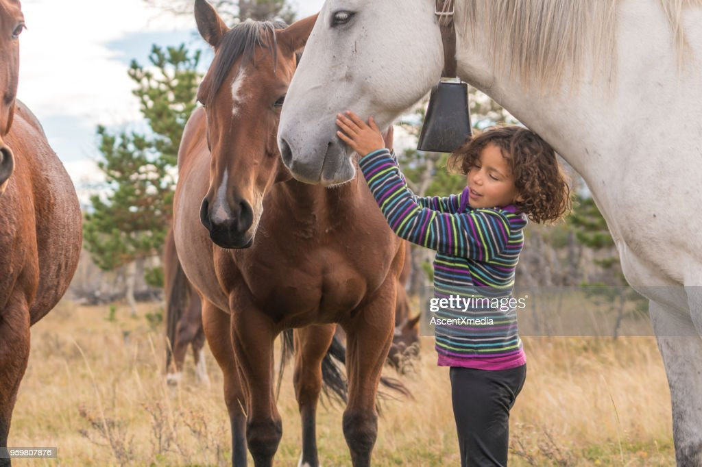 Mixed race girl connects with horses below mountains : Stock Photo
