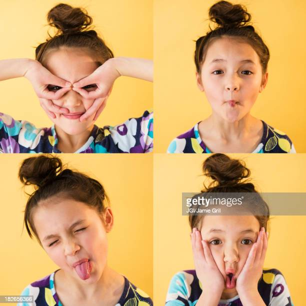 Mixed race girl making faces
