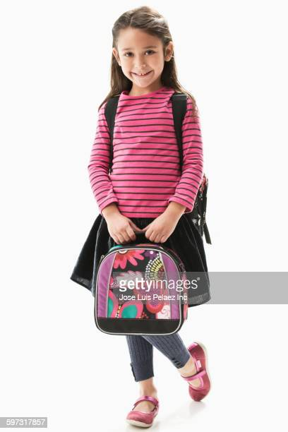Mixed race girl ready for school