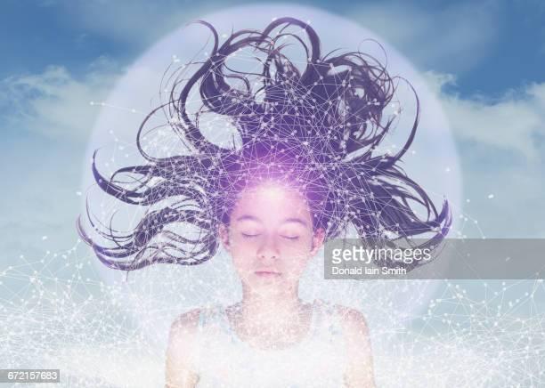 Mixed Race girl sensing virtual network