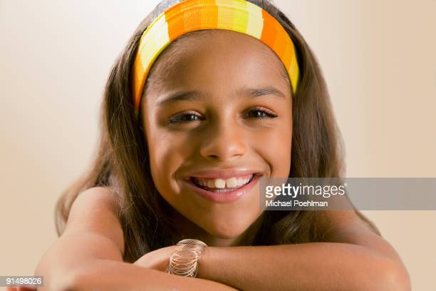 Mixed race girl smiling