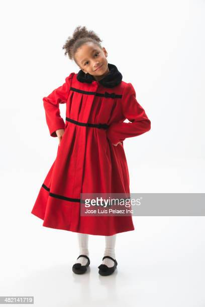 mixed race girl wearing dress coat - frock coat stock pictures, royalty-free photos & images