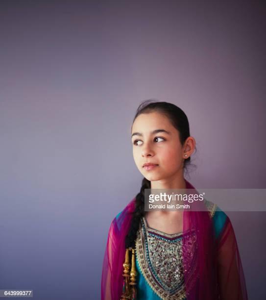 mixed race girl wearing traditional punjabi clothing - punjabi girls images stock photos and pictures