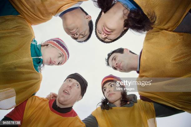 mixed race group of men and women in a huddle for an outdoor sporting event. - huddling stock pictures, royalty-free photos & images