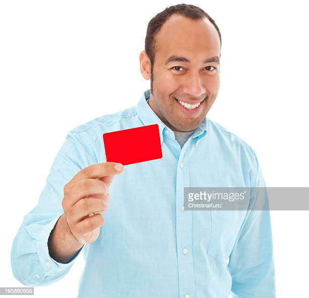 Mixed Race Man Smiling Holding Business or Credit Card