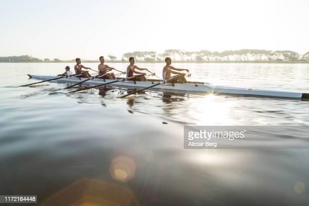 mixed race rowing team training on a lake at dawn - esporte aquático - fotografias e filmes do acervo