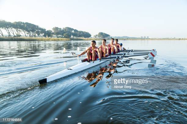 mixed race rowing team training on a lake at dawn - team sport stock pictures, royalty-free photos & images