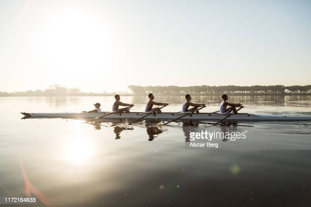 mixed race rowing team training on a lake at dawn - trabajo en equipo fotografías e imágenes de stock