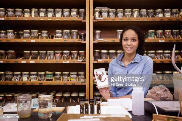mixed race student holding specimen in museum - museum curator stock pictures, royalty-free photos & images