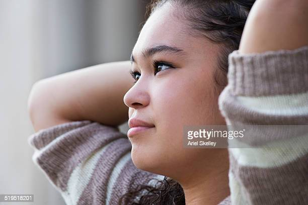 Mixed race student relaxing