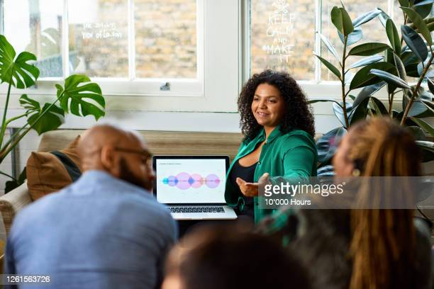mixed race woman giving product presentation - occupation stock pictures, royalty-free photos & images