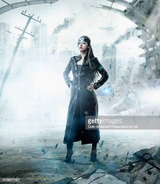 Mixed race woman in apocalyptic city