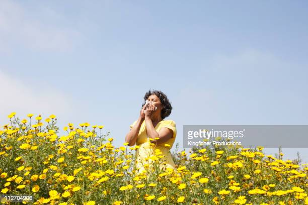 mixed race woman in field of flowers enjoying scent - espirrando - fotografias e filmes do acervo