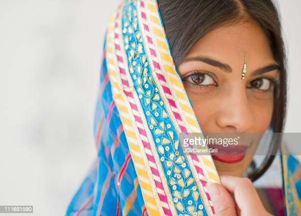 Mixed race woman in traditional Indian clothing
