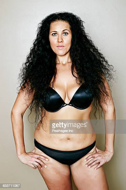 Mixed race woman wearing lingerie
