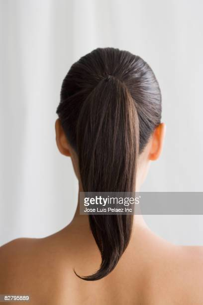 Mixed race woman's ponytail