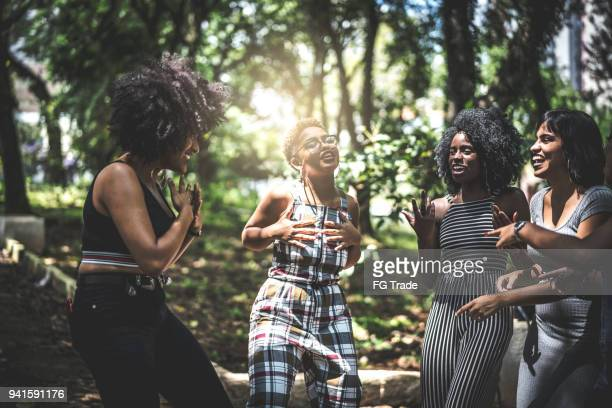 Mixed racial group dancing