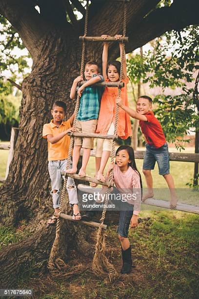 Mixed racial group of children on rope ladder in tree