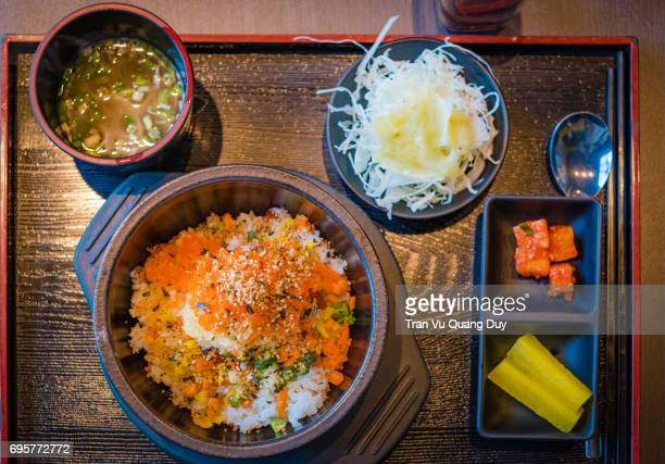 Mixed rice dish on table in Seoul, South Korea.