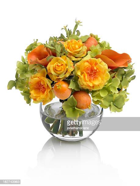 Mixed rose and calla lily bouquet on white background