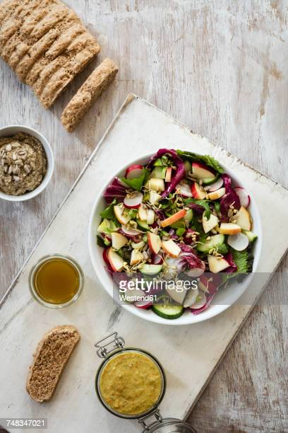 mixed salad, bread and dip - jars with salad stock pictures, royalty-free photos & images