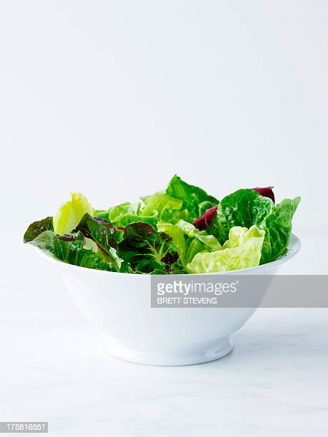 mixed salad leaves in white bowl - lettuce stock pictures, royalty-free photos & images