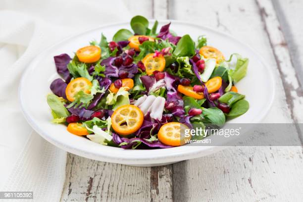 mixed salad with kumquat, red cabbage and pomegranate seeds - green salad stock pictures, royalty-free photos & images