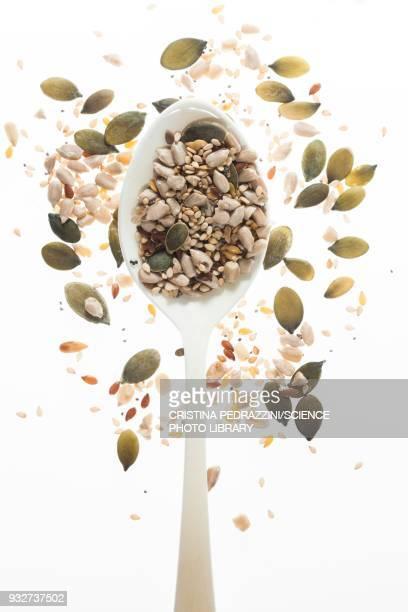 mixed seeds on spoon - pflanzensamen stock-fotos und bilder