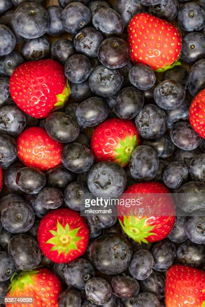 Mixed Summer berries Fruits Strawberry and blueberry
