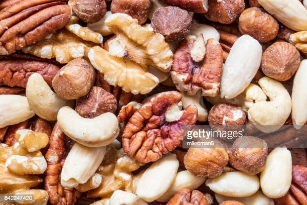 Mixed whole nuts. Nut Sources of Vitamin B9 Folate