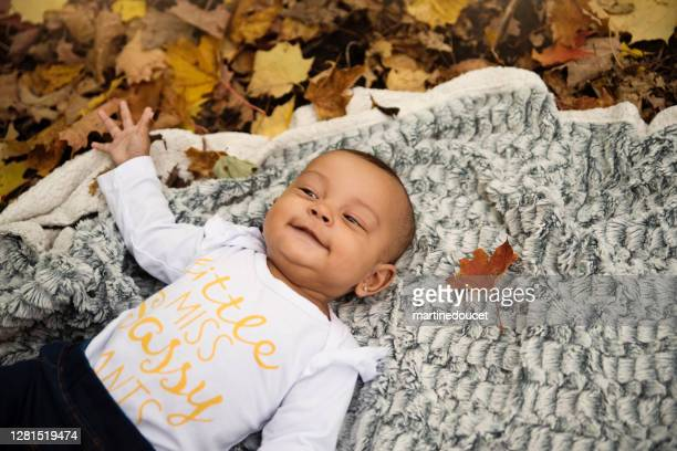 """mixed-race baby girl enjoying autumn in urban park. - """"martine doucet"""" or martinedoucet stock pictures, royalty-free photos & images"""