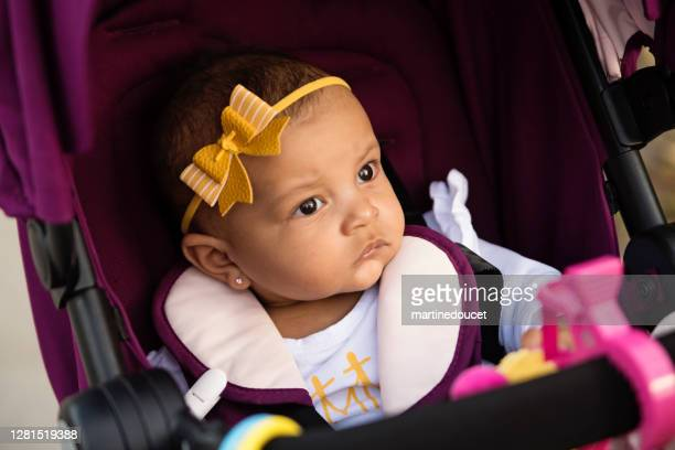 """mixed-race baby girl in a stroller. - """"martine doucet"""" or martinedoucet stock pictures, royalty-free photos & images"""