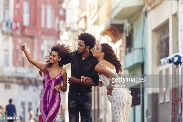 Mixed-race Cuban friends in Havanna