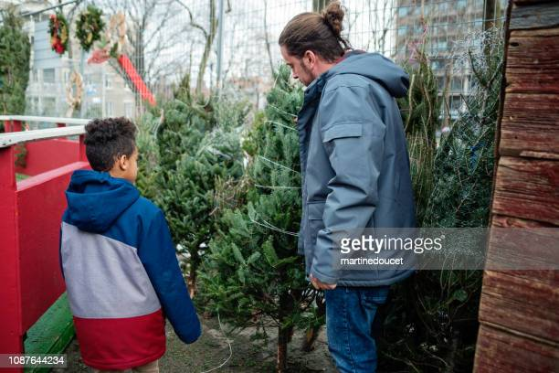 """mixed-race dad and son shopping for christmas tree in winter. - """"martine doucet"""" or martinedoucet stock pictures, royalty-free photos & images"""