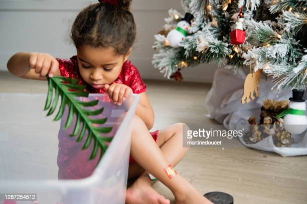 "mixed-race little girl decorating the christmas tree. - ""martine doucet"" or martinedoucet stock pictures, royalty-free photos & images"