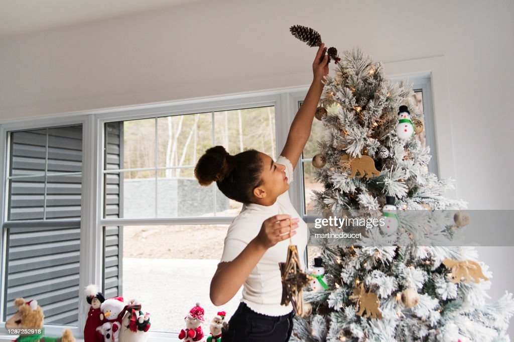 Mixed-race teenage girl decorating the Christmas tree. : Stock Photo