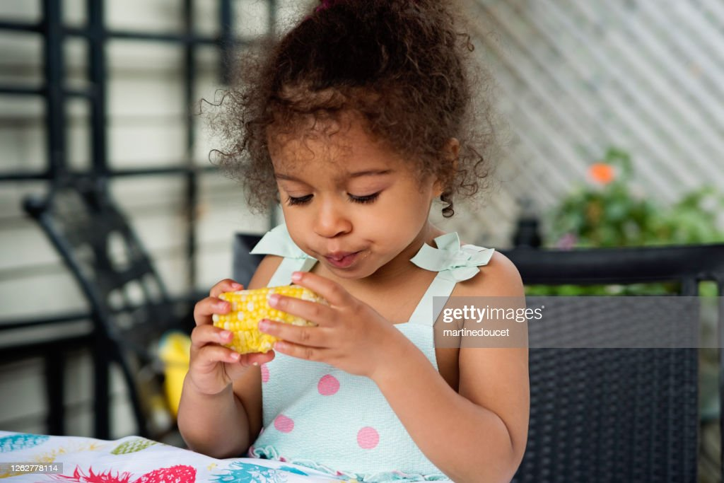 Mixed-race toddler eating corn outdoors in summer. : Stock Photo