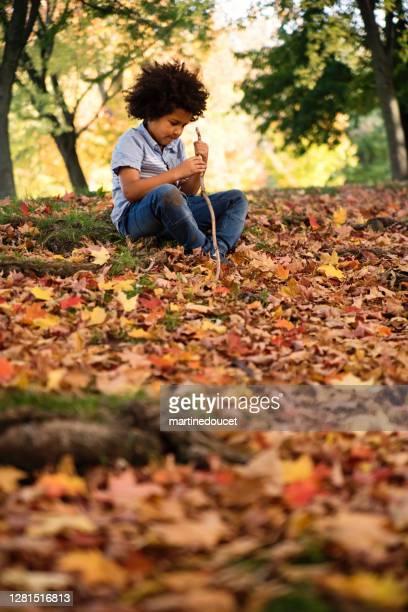 """garoto mestiço curtindo o outono no parque urbano. - """"martine doucet"""" or martinedoucet - fotografias e filmes do acervo"""