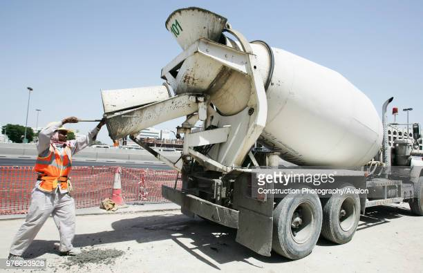 Mixer Uploading Concrete Into MRT Post At The Corner Of Ettihad And Al Wahida Street In
