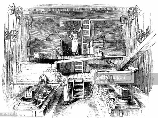 Mixing and grinding ingredients for production of pottery in the mill room of a Staffordshire factory Wood engraving c1851