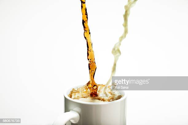 mixing coffee and milk