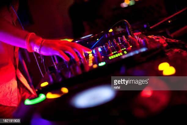 dj mixing on cdjs - club dj stock pictures, royalty-free photos & images