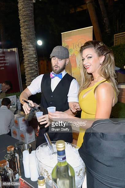 Mixologist Jeremy Taylor and spokeswoman Jennifer Kaiser attend the Las Vegas Food and Wine Festival at the Red Rock Casino Resort and Spa on...