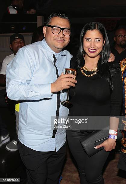 Mixologist Joseph Solis and Laura Stylez attend Vashtie's Dumb Late Birthday Party at TAO Downtown on July 23 2015 in New York City