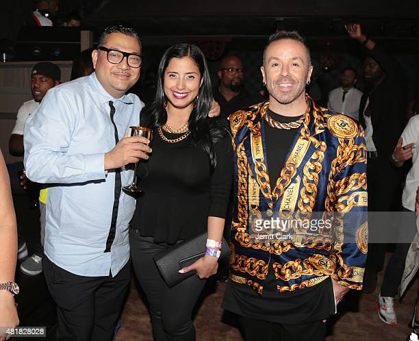 Mixologist Joseph Solis Laura Stylez and Damon Peruzzi attend Vashtie's Dumb Late Birthday Party at TAO Downtown on July 23 2015 in New York City