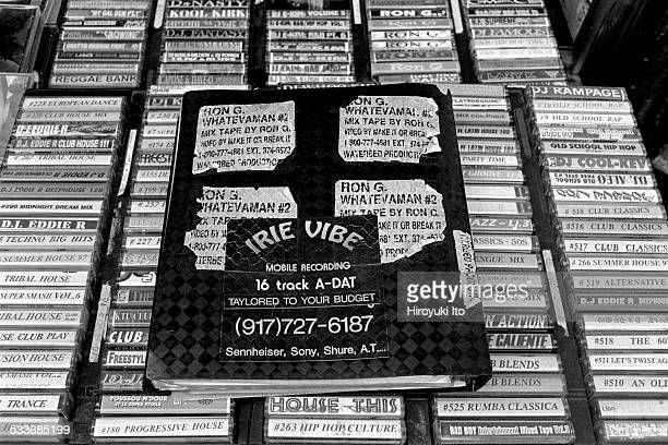 Mixtapes being sold on Canal Street in Chinatown, Manhattan in New York City on August 6, 1998.