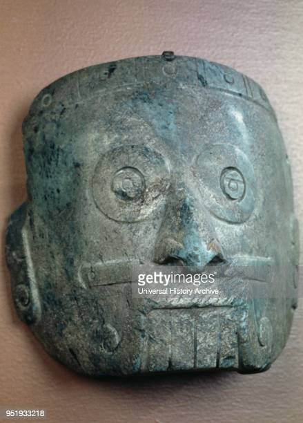 Mixtec mask of Tlaloc the Rain God 13th_14th century Mexico Mesoamerica Made from Serpentine This depiction of the rain god Tlaloc has characteristic...
