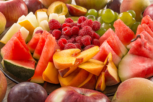A mixture of their fruit, close-up. 1132784873