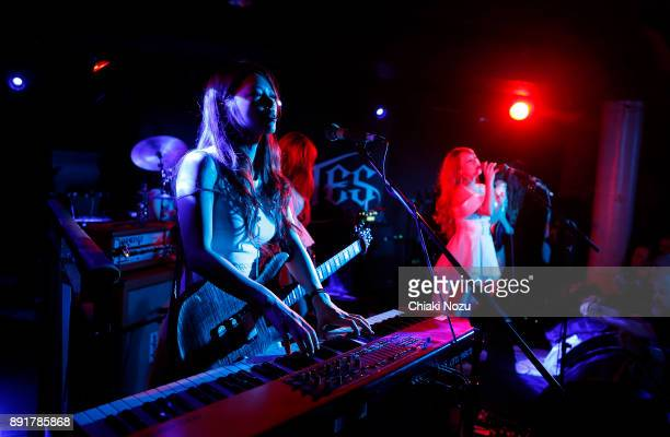 Miya and Asami of Lovebites perform live on stage at Underworld on November 27 2017 in London England