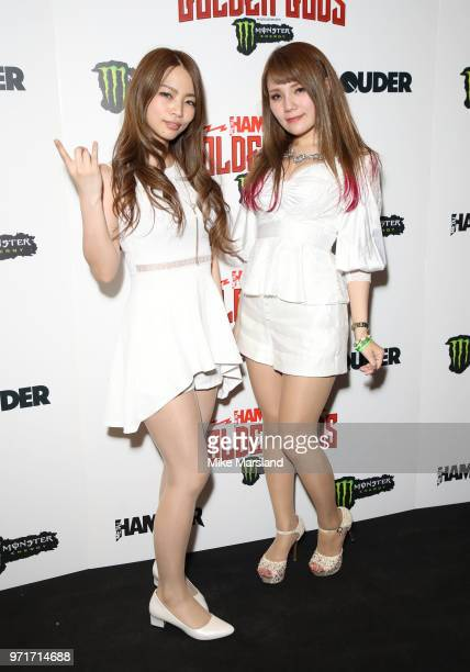MiYa and Miho of the Lovebites attend the Metal Hammer Golden God Awards at Indigo at The O2 Arena on June 11 2018 in London England